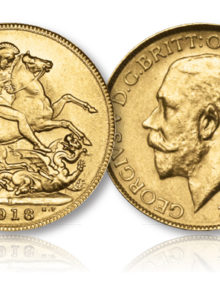King George V Gold Sovereign of the Bombay Mint of 1918