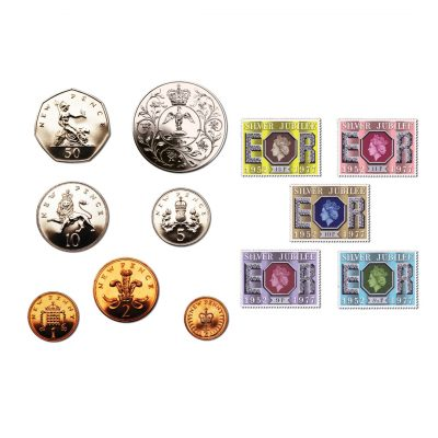1977 Silver Jubilee Coin and Stamp Set