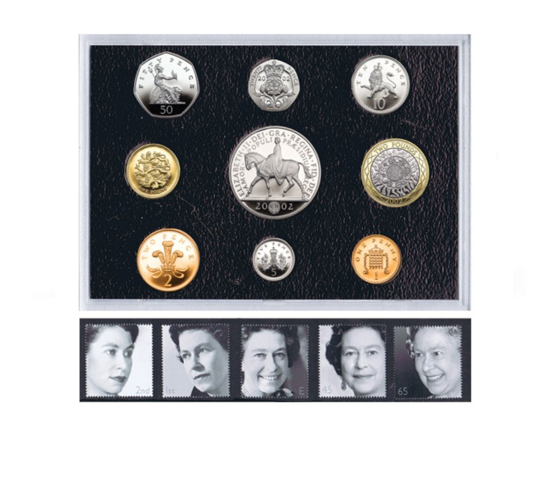 The QEII 2002 Golden Jubilee Coin and Stamp Set
