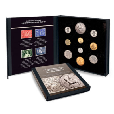 The QEII 1953 Coronation Coin and Stamp Set