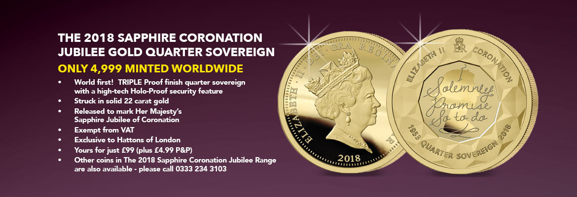 The Sapphire Jubilee Coronation Gold Quarter Sovereign Banner