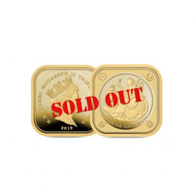 Image of The 2019 Four Sided Quarter Sovereign with SOLD OUT stamp across it