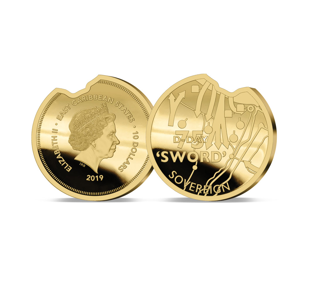 Image of the 2019 Heroes of Sword Beach Gold Sovereign commemorating the 75th Anniversary of the D-Day landings