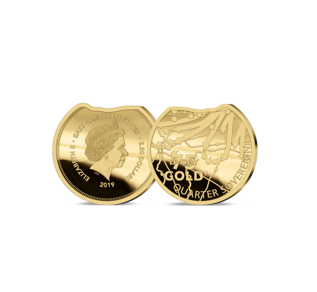 Image of the 2019 Heroes of Gold Beach Gold Quarter Sovereign