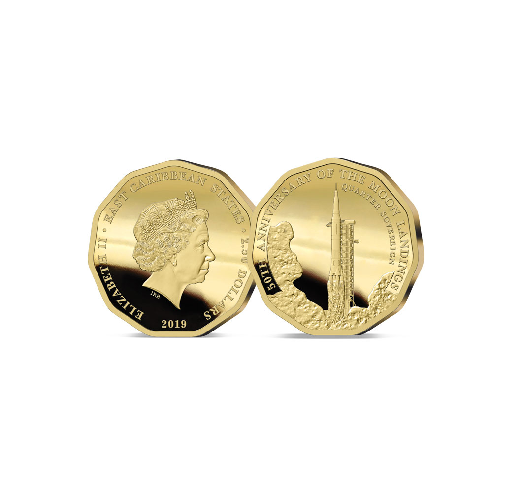 Image of The 2019 Moon Landing 50th Anniversary Gold Quarter Sovereign