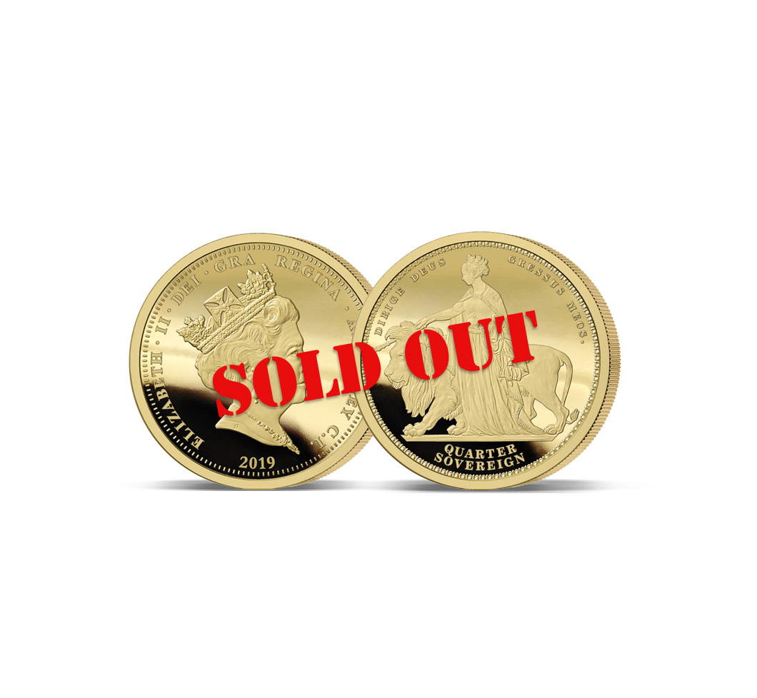 Image of the Queen Victoria 200th Anniversary Gold Quarter Sovereign with SOLD OUT across the coins
