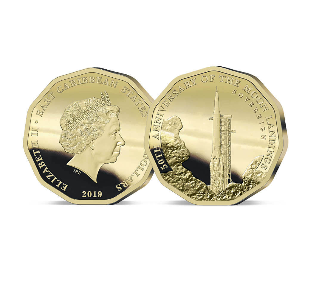 Image of the 2019 Moon Landing 50th Anniversary Gold Sovereign