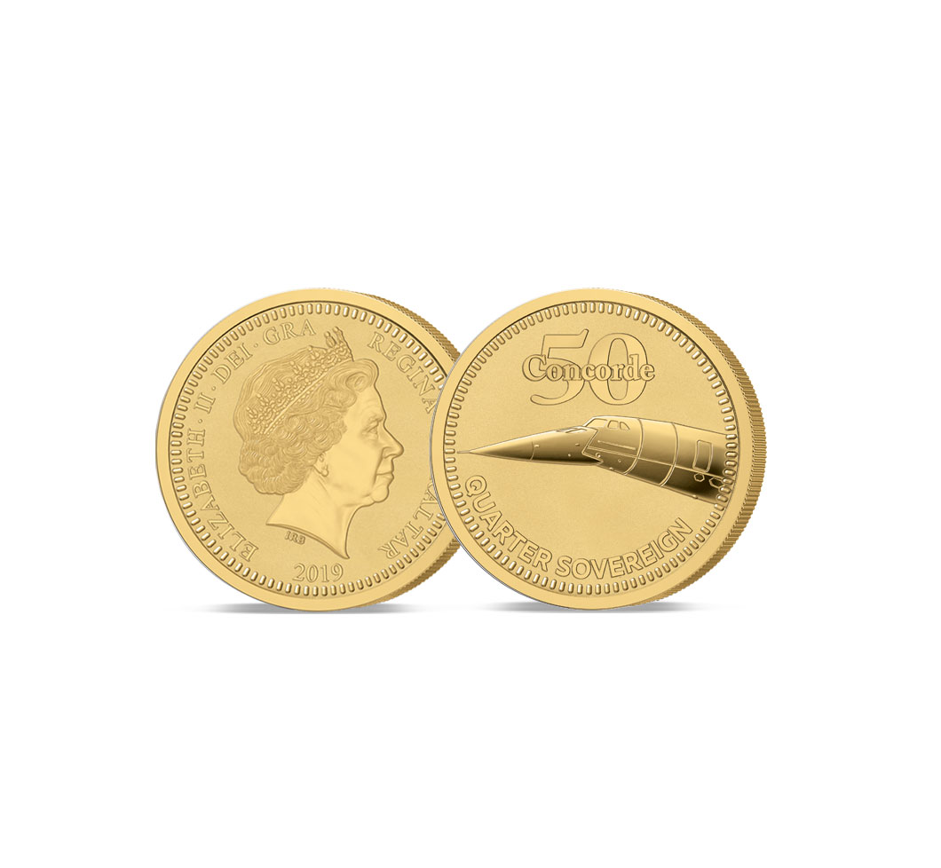 Image of the 2019 Moon Landing 50th Anniversary Gold Quarter Sovereign with a Mission Patch