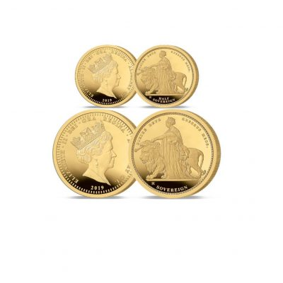 Image of the 2019 Queen Victoria 200th Anniversary 24 carat gold Half and Full Sovereign Set