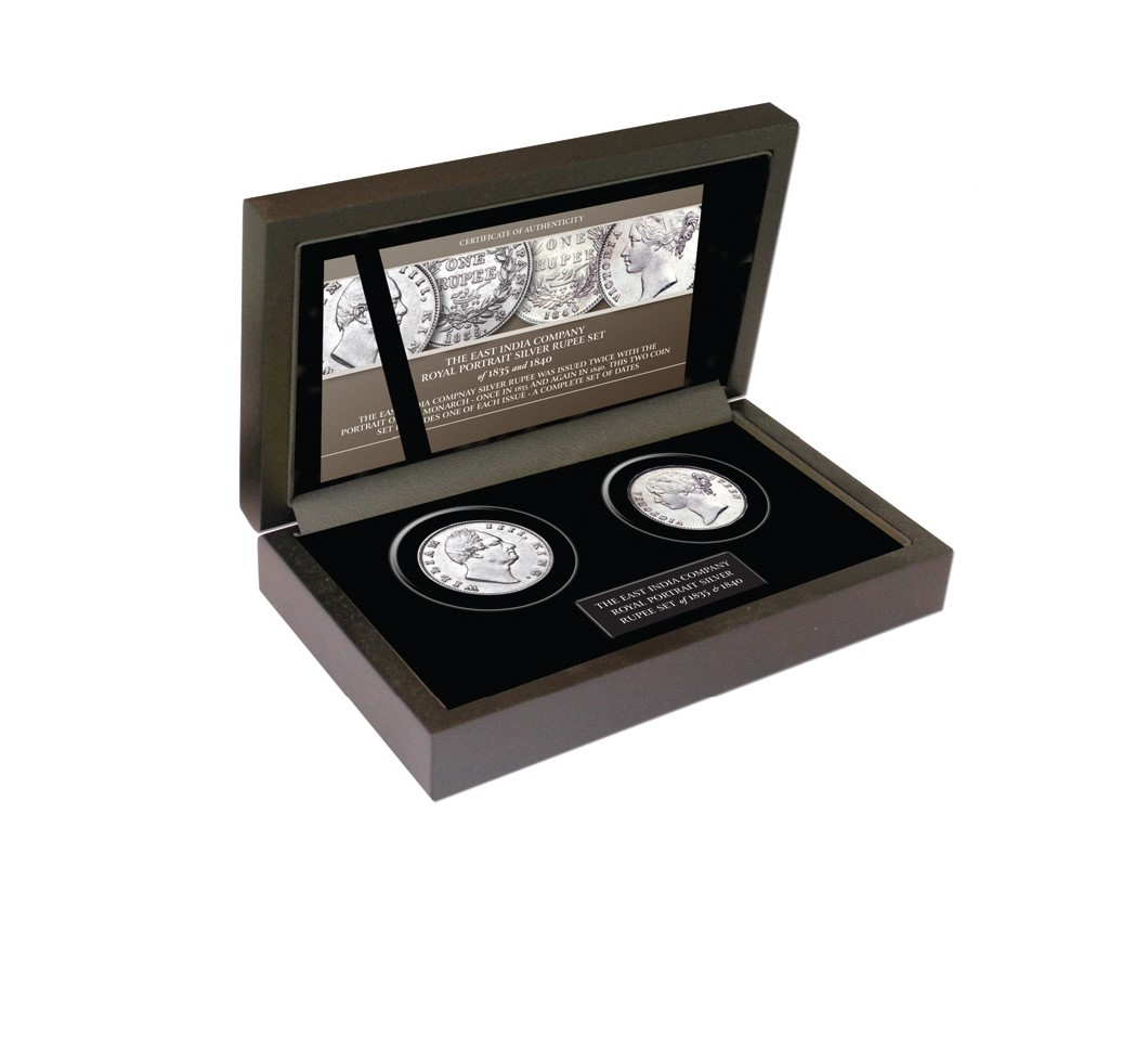 Image of the EIC Royal Portrait Silver Rupee Set in its display box