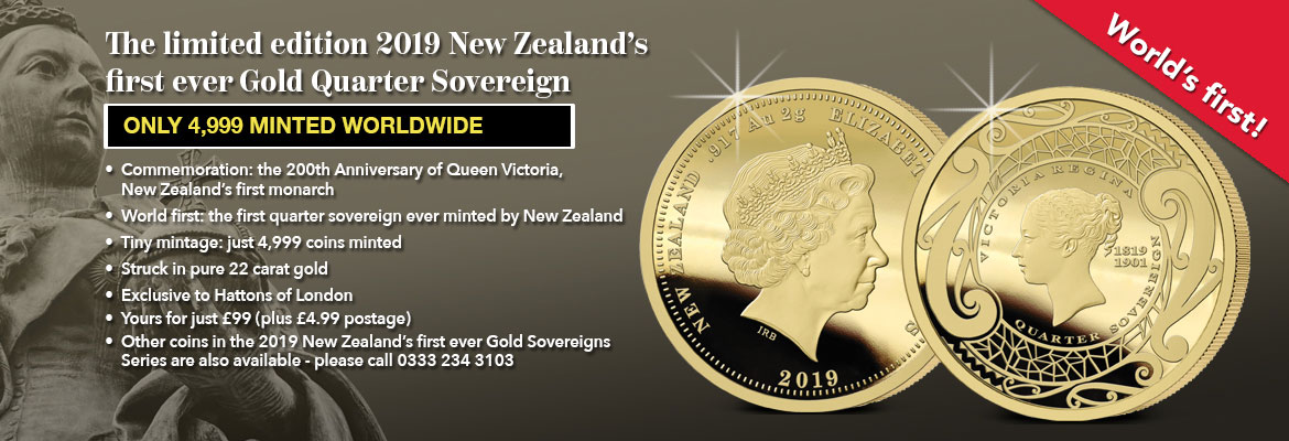 Banner with information on The 2019 New Zealand First Ever Gold Quarter Sovereign
