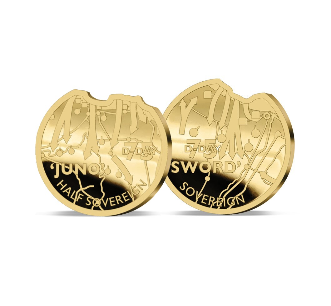 The 2019 Heroes of D-Day 75th Anniversary Gold Half and Full Sovereign Set