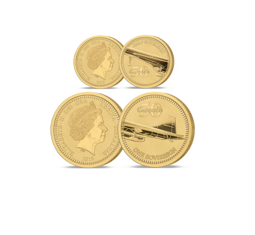 The 2019 Concorde 50th Anniversary Gold Half and Full Sovereign Set