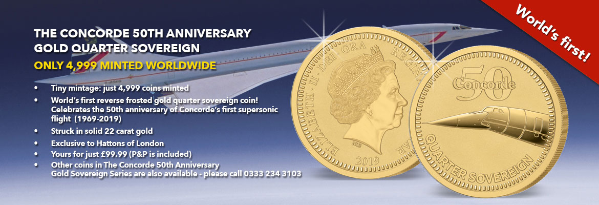 Banner for the new 2019 Concorde 50th Anniversary Gold Quarter Sovereign