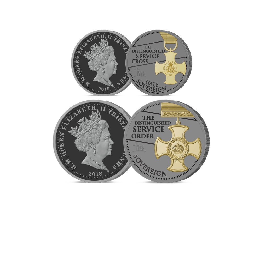 The 2018 Armistice Centenary Remembrance Gold Gallantry Half and Full Sovereign Set