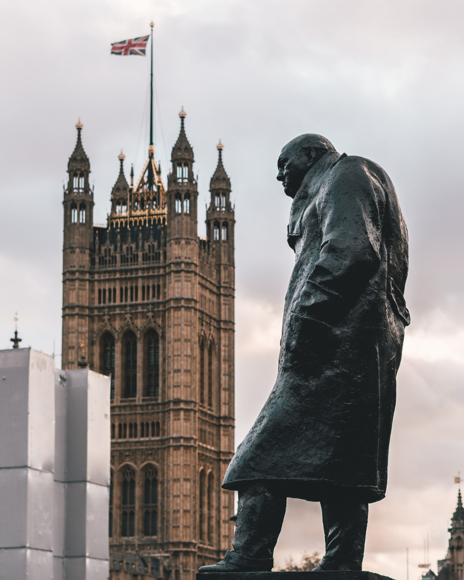 The statue of Winston Churchill in front of Westminster. VE Day 75th Anniversary