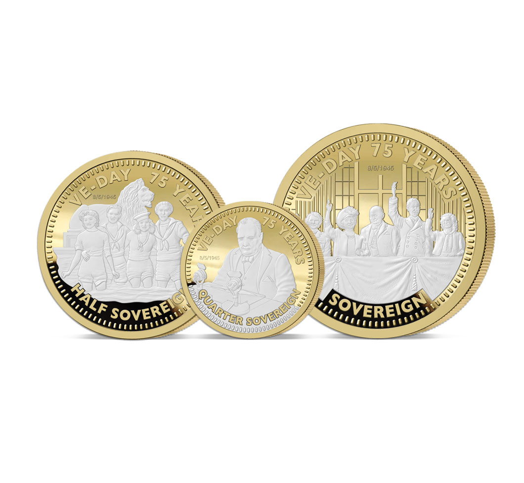 The VE DAy 75th Anniversary Gold Prestige Sovereign Set
