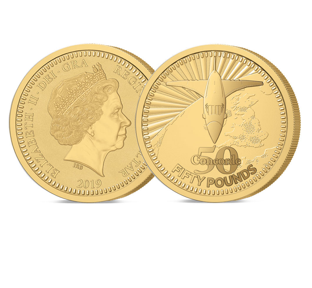 The 2019 Concorde 50th Anniversary Gold 5 oz £50 Sovereign