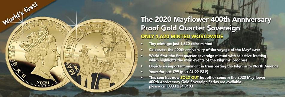 The 2020 Mayflower 400th Anniversary Gold Quarter Sovereign banner