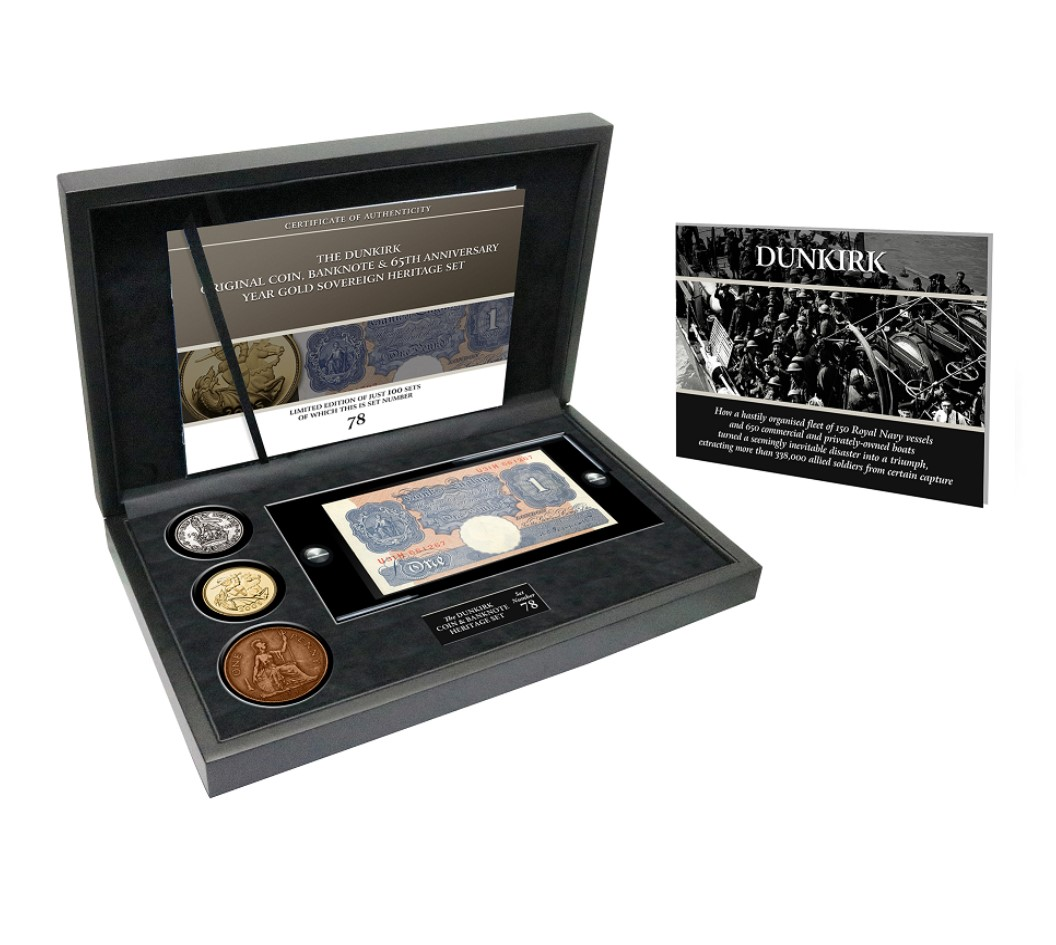 The Dunkirk Original Coin Banknote and 65th Anniversary Year Gold Sovereign Set