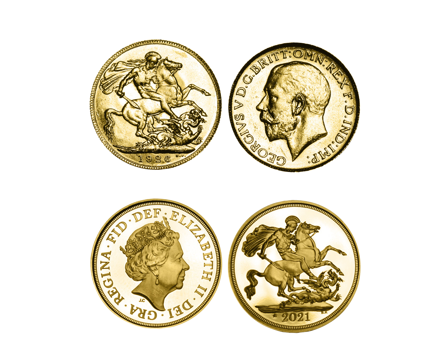 Queen Elizabeth II 95th Birthday Gold Sovereign Pair of 1926 & 2021