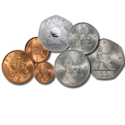 Queen Elizabeth II 1971-2021 Decimalisation 50th Anniversary MINT STATE Set of Heritage coins with