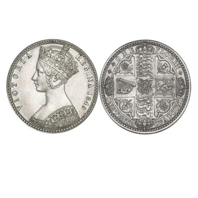 The Queen Victoria British Silver Godless Florin of 1849